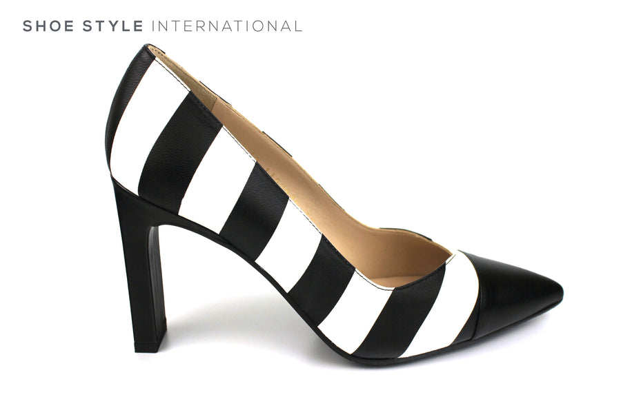 Lodi Silvo RI High Heel Pointed toe with Black White Leather Strips, Ireland Shoe Shops online, Shoe Style International, Location Wexford Gorey, Ireland