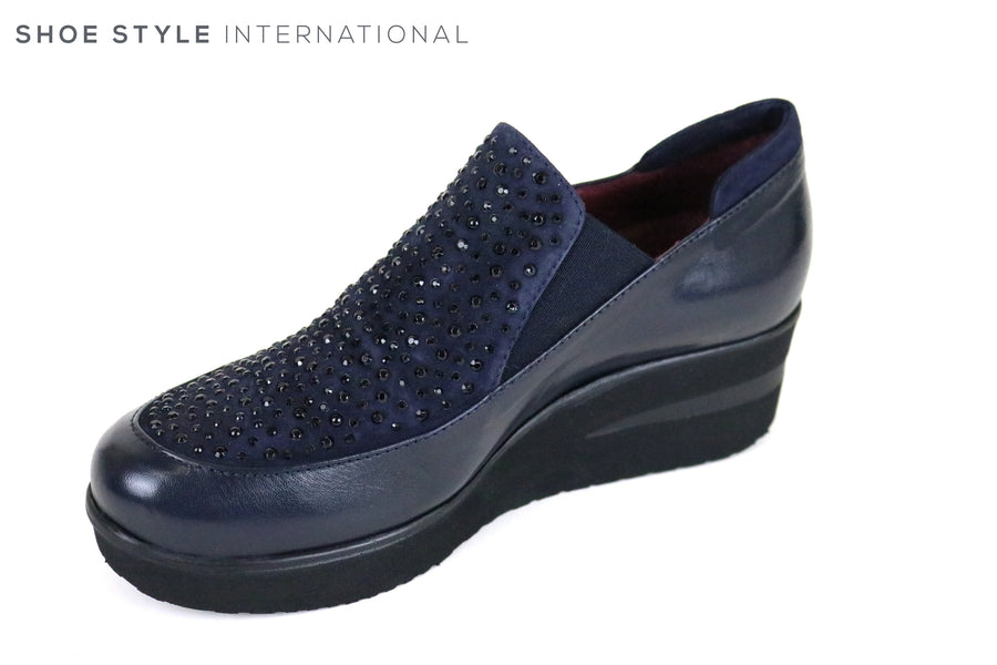 Marco More 240, Marco Moreo Movers, Wedge Slip-on Shoe Colour is Dark Blue with Blue Embellishments, Shoe Style International, Wexford, Gorey, Ireland, Online Shoe Shopping Ireland