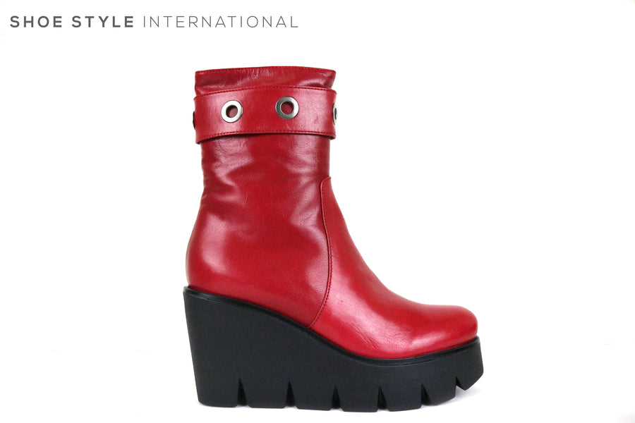 Marco Moreo 072, High Wedge Boot with eyelet detail at the top, Colour Red, Shoe Style International, Weford, Gorey, Ireland, Shoe Shop online