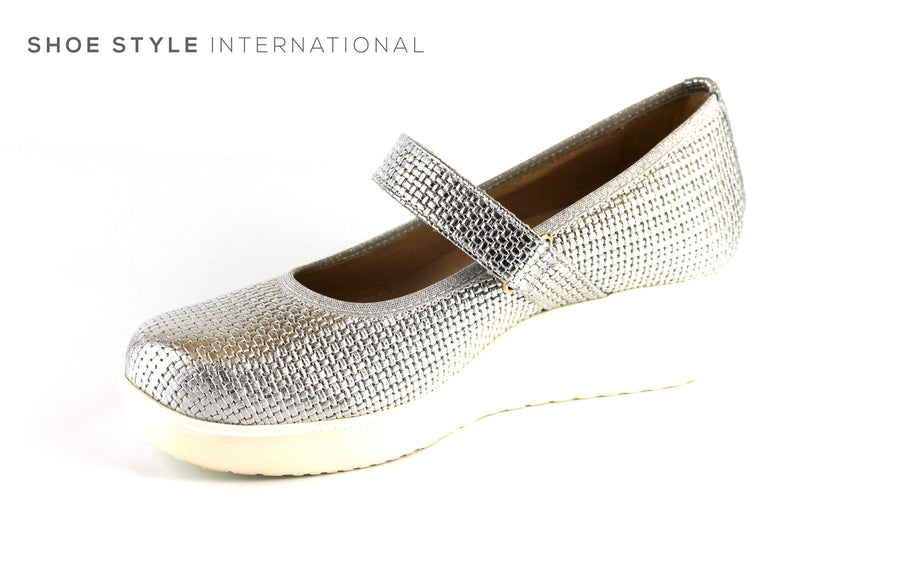Marco Moreo 804 Silver Wedge Shoe with Velcro Strap to close, Ireland Shoe Shops online, Shoe Style International, Location Wexford Gorey, Ireland
