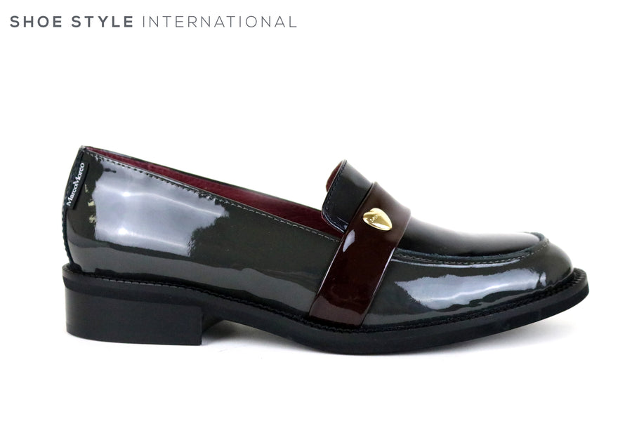 Marco Moreo 030, Flat Loafer in Black Patent with a hear shape embellishment in Gold. Shoe Shop Online Shoe Style International, Wexford, Gorey, Ireland