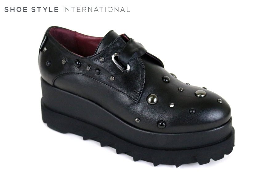 Marco Moreo 301, Lace-up Platform Shoe with dark embellishments on the front of the shoe and around the shoe. Colour is Black and the Platform colour is Black, The emebellishments are a Black colour. Ireland Shoe Shops online, Shoe Style International, Location Wexford Gorey and Ireland