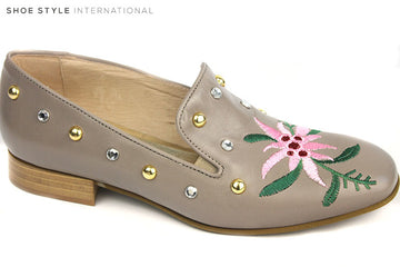 Marco Moreo 690, Slip-on loafer, Colour Taupe with Studded detail in Gold and Silver, plus flower detail at the front of the shoe in Pink and Green, Shoe Style International, Wexford, Gorey, Ireland