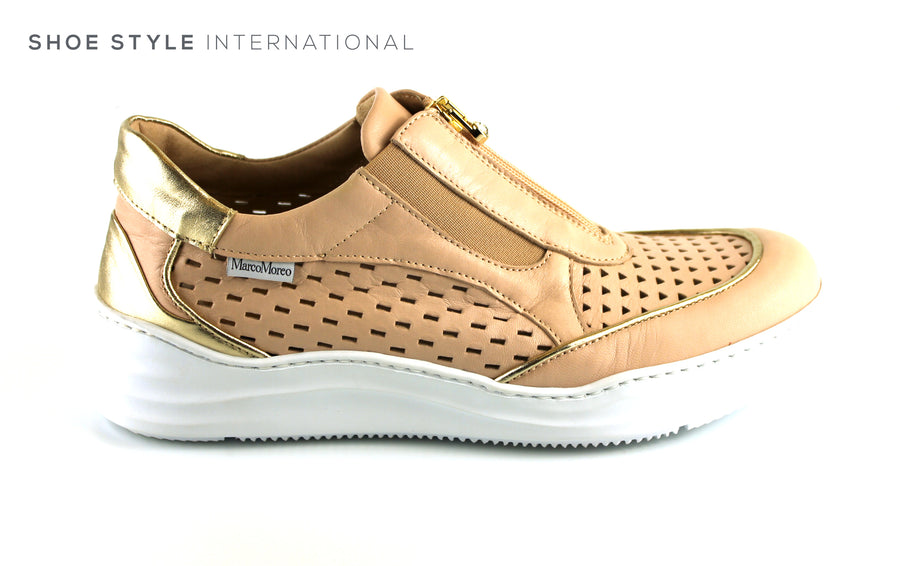 Marco Moreo 411 Nude Gold Colour, Flat Shoe with front Zip Closing, Ireland Shoe Shops online, Shoe Style International, Location Wexford Gorey, Ireland