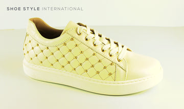 Marco Moreo 481 Cream Quilted Shoe lace up Trainer with Gold Stud detail, Ireland Shoe Shops online, Shoe Style International, Location Wexford Gorey, Ireland