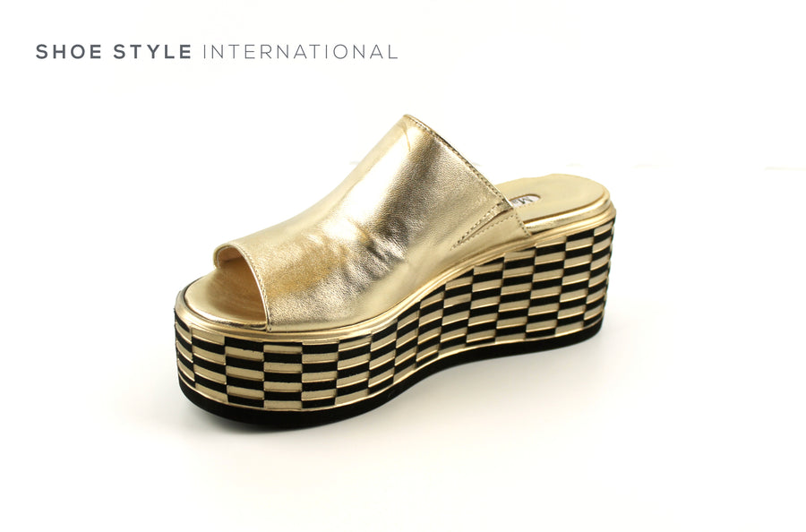 Marco Moreo 544 Gold Platform Slider or Mule with Peep Toe, Colour Gold Mettalic, Shoe_Style_International-Wexford-Gorey-Ireland