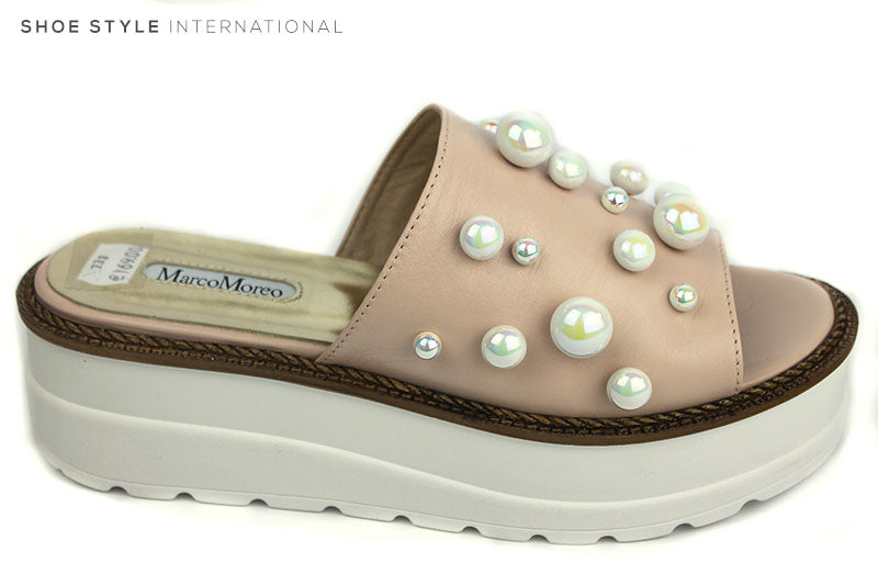 Marco Moreo 733, Flatform Slider with Pearl embellishment, Colour of Slider is Blush and pearls are metallic white. Shoe Style International, Wexford, Gorey, Ireland