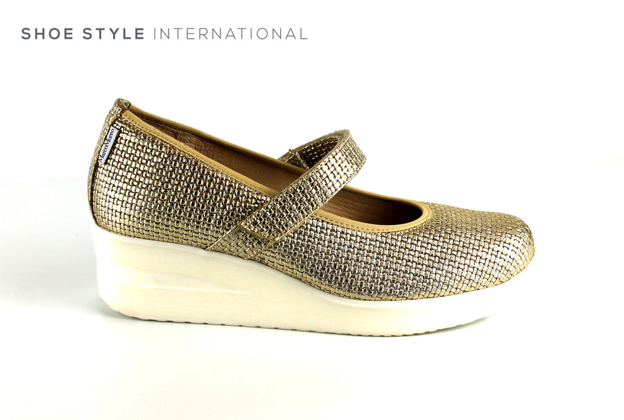 Marco Moreo 804 Gold Wedge Shoe with Velcro Strap to close, Ireland Shoe Shops online, Shoe Style International, Location Wexford Gorey, Ireland