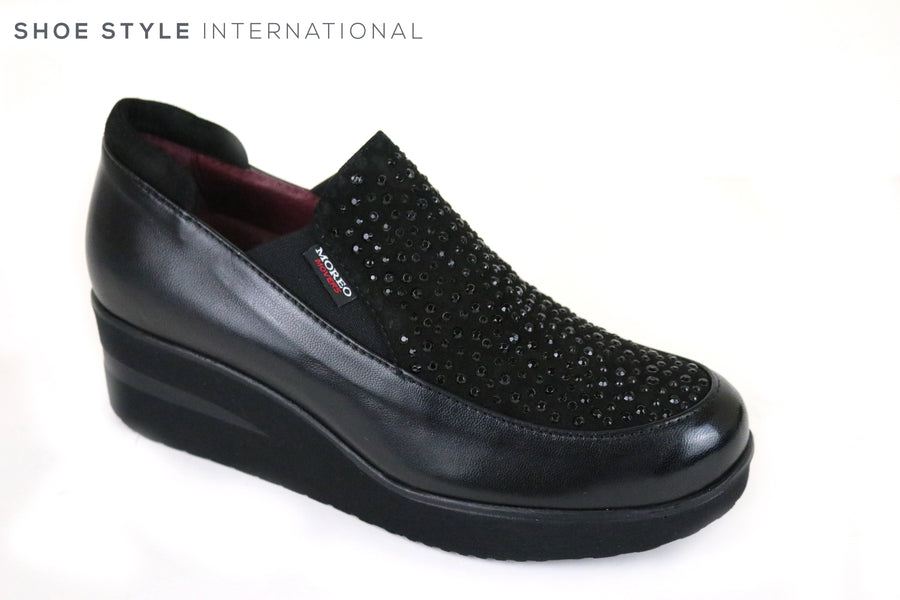 Marco Moreo Movers, 282, Slip-on wedge shoe with black embellishments at the front of the shoe. Colour Black. Shoe Style International, Wexford, Gorey, Ireland online Shoe Shopping Ireland