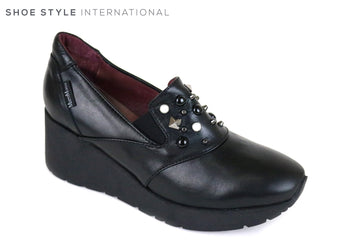 Marco Moreo 662, Slip-on wedge Shoe, Colour Black with Black and White embellishments at the front of the shoe,  Ireland Shoe Shops online, Shoe Style International, Location Wexford Gorey and Ireland
