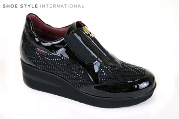 Marco Moreo Movers 500, Wedge Shoe with Zips to fasten at the top, Colour Black, Comfortable Shoe for running around,  Ireland Shoe Shops online, Shoe Style International, Location Wexford Gorey and Ireland