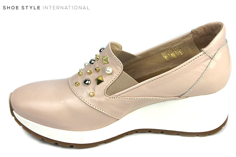 Marco Moreo 643, Slip-on Wedge Shoe with emblishment detail at the front of the shoe, Colour Blush. Shoe Style International, Wexford, Gorey Ireland