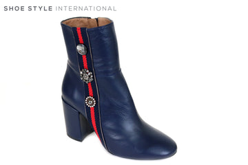 Marian 15707 Navy Leather High Heel Ankle Boot with Side Zip Closing, Red and Black colour Strip with Three Embellishments on the outer side, Ireland Shoe Shops online, Shoe Style International, Location Wexford Gorey and Ireland
