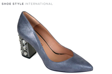 Marian 3708, Grey Suede Block High Heel with a Pointed toe, Silver Embellishments attached to the heel, Ireland Shoe Shops online, Shoe Style International, Location Wexford Gorey and Ireland