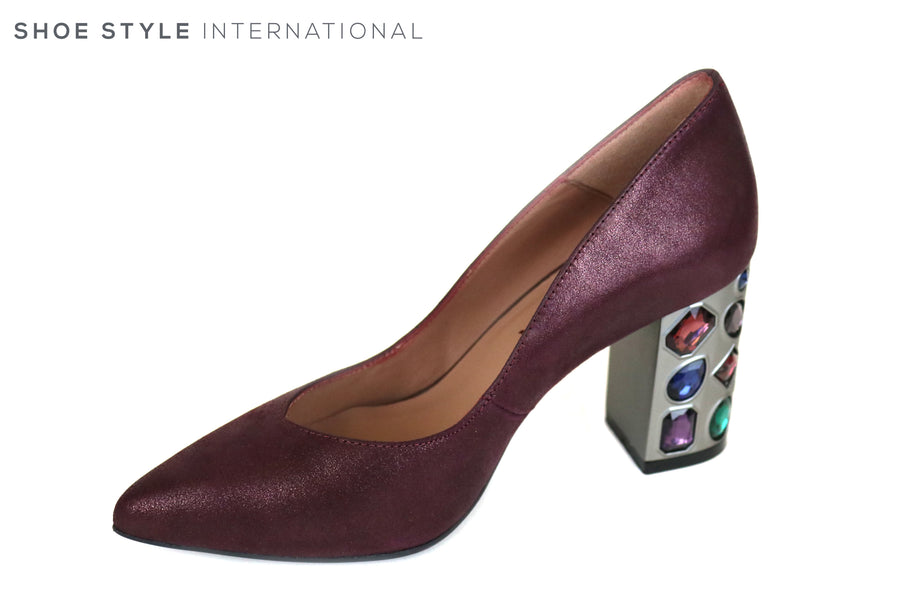Marian 3708, Burgundy Suede Block High Heel with a Pointed Toe shoe, Colored Embellishments on the heel, Occasion wear shoes, Ireland Shoe Shops online, Shoe Style International, Location Wexford Gorey and Ireland