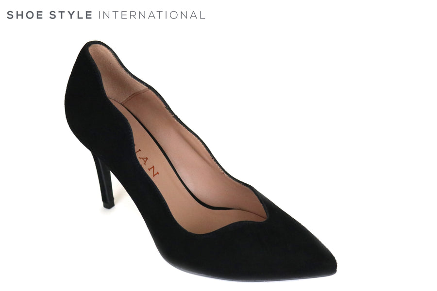 Marian 3716, Black suede pointed toe high heel with a scalloped edge finish, Ireland Shoe Shops online, Shoe Style International, Location Wexford Gorey and Ireland