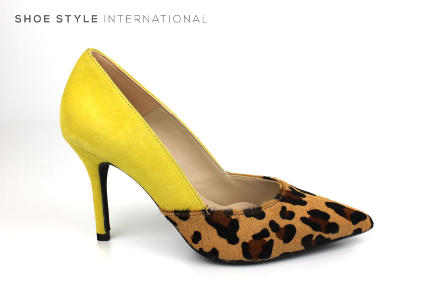 Marian 3821 Pointed toe high heel Court Shoe with Leopard print desing and Yellow suede at the back of the shoe, Spring-Summer-2019 -Shoe_Shops-online-Shoe_Style_International-Wexford-Gorey-Ireland