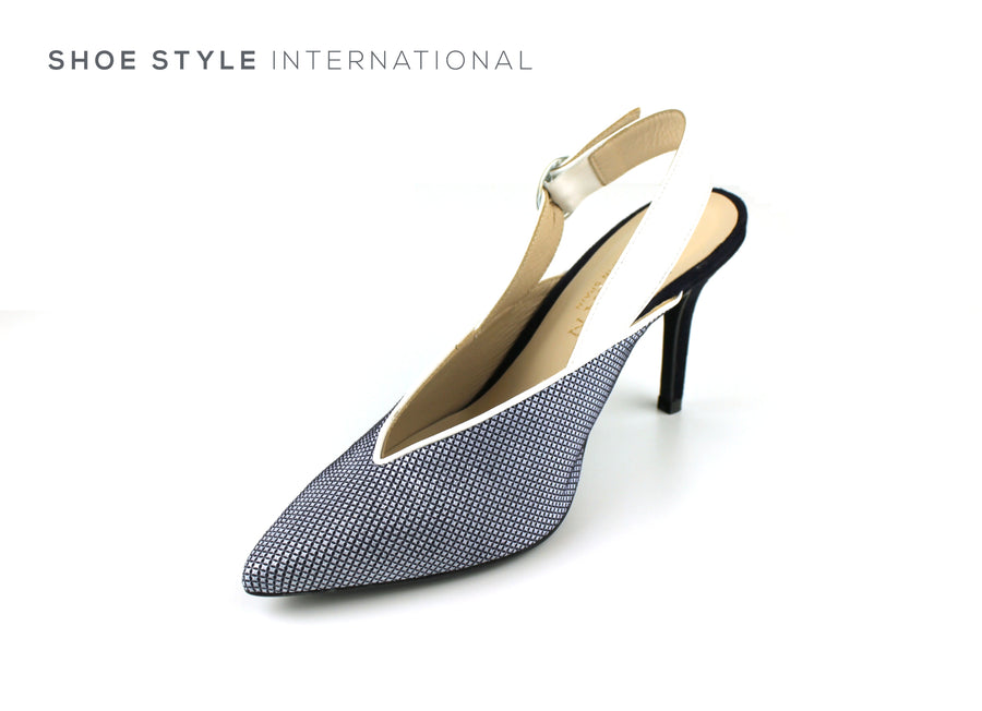 Marian Shoes, Marian High Heel Closed Toe Sling back in Colour Navy and White, Shoe_Style_International-Wexford-Gorey-Ireland