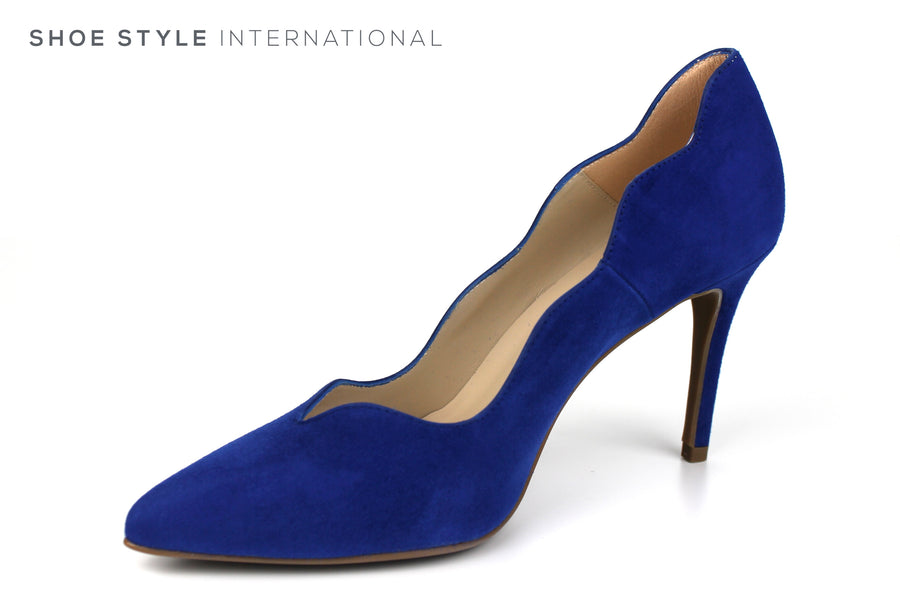Marian 3833 Closed toe High Heel with a pointed toe and scalloped edge finish around the foot,colour Electric Blue in Suede Upper, Spring-Summer-2019 -Shoe_Shops-online-Shoe_Style_International-Wexford-Gorey-Ireland