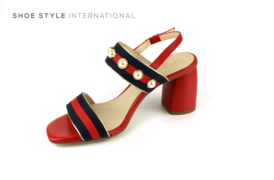 Marian 52812 Open Toe Sandal with Sling Back, Colour Red with Navy Red detial and pearl detail Ireland Shoe Shops online, Shoe Style International, Location Wexford Gorey, Ireland