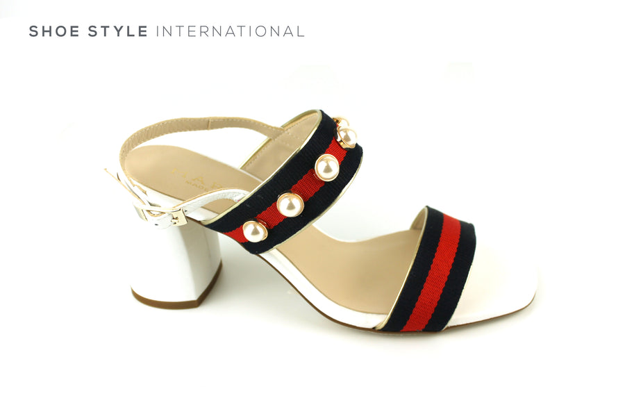 Marian 52812 Open Toe Sandal with Sling Back, Colour White with Navy Red detial and pearl detail Ireland Shoe Shops online, Shoe Style International, Location Wexford Gorey, Ireland