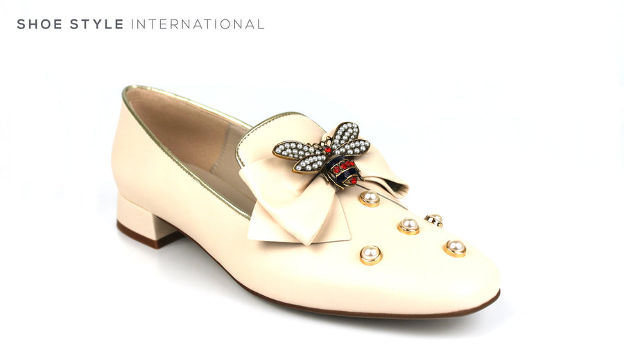Marian 6807 Slip-on Loafer Beige Loafer with Bee Embellishments and pearl embellishments, Spring-Summer-2019 -Shoe_Shops-online-Shoe_Style_International-Wexford-Gorey-Ireland