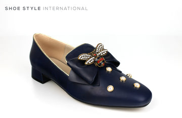 Marian 6807 Navy Loafer with Bee Embellishments and pearl embellishments, Spring-Summer-2019 -Shoe_Shops-online-Shoe_Style_International-Wexford-Gorey-Ireland