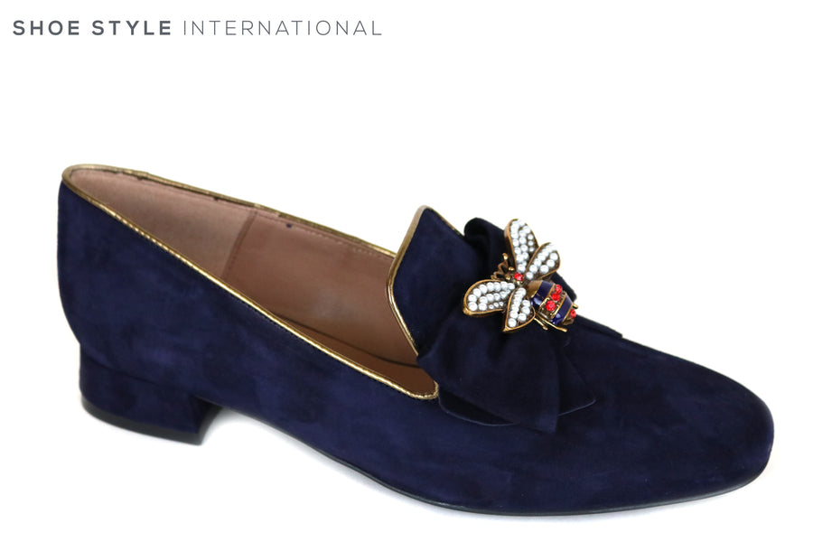Marian 8706, Navy Suede Loafers with Bee Embellishments on the front,Ireland Shoe Shops online, Shoe Style International, Location Wexford Gorey and Ireland