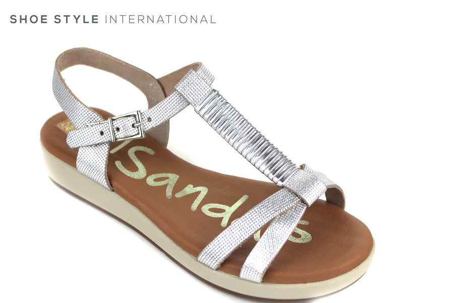 Oh My Sandals 3860, Open Toe ankle strap sandal. Colour Silver, One bar going up the foot for extra support, Shoe Style International