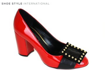 Oxitaly Gersa, Block high heel for occasion wear, Colour Red Patent Shoe with a square detial at the front of the shoe in red with Gold Stud detail,  Ireland Shoe Shops online, Shoe Style International, Location Wexford Gorey and Ireland