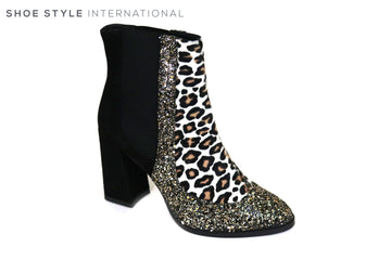 Oxitaly Gloria 457, High Heel Pull on Ankle Boot, Ankle boot is black at the back, on the front there is a leopard print design with glitter detail attached to the outside of the leopard print design,  Ireland Shoe Shops online, Shoe Style International, Location Wexford Gorey and Ireland