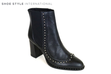 Oxtialy Grace Pull-on Ankle Boot in Black with stud detail design at the front of the Ankle Boot. Boot in Leather and is perfect boot,  Ireland Shoe Shops online, Shoe Style International, Location Wexford Gorey and Ireland