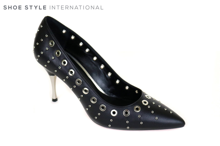 Oxitaly Solange High Heel pointed toe shoe with silver eyelet detail around the shoe, Perfect shoe for any occasion wear,  Ireland Shoe Shops online, Shoe Style International, Location Wexford Gorey and Ireland