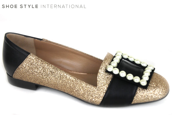 Oxtialy Gemma low flat loafer shoe with pearl square bow detail, colour Gold with pearl square detail on the toe, shoe style international wexford gorey ireland