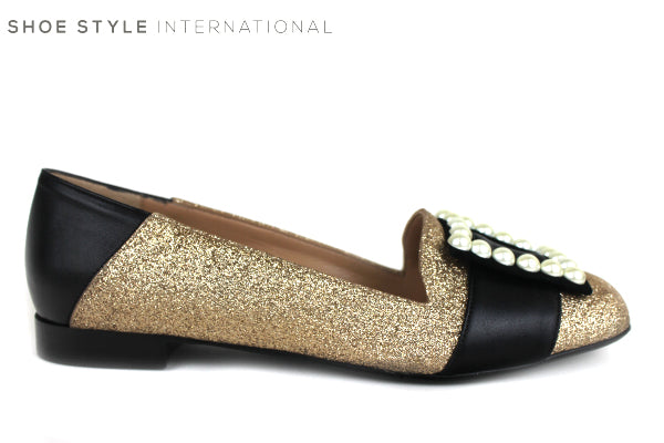 Oxtialy Gemma low flat loafer shoe, colour Gold with pearl square detail on the toe, shoe style international wexford gorey ireland