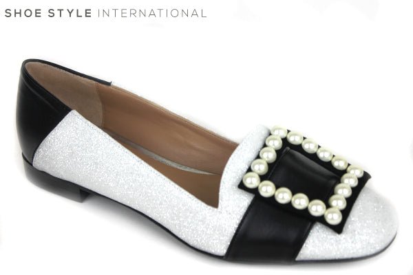 Oxtialy Gemma low flat loafer shoe, has a squre bow detail with pearls at front of the shoe. colour white with pearl square detail on the toe, shoe style international wexford gorey ireland