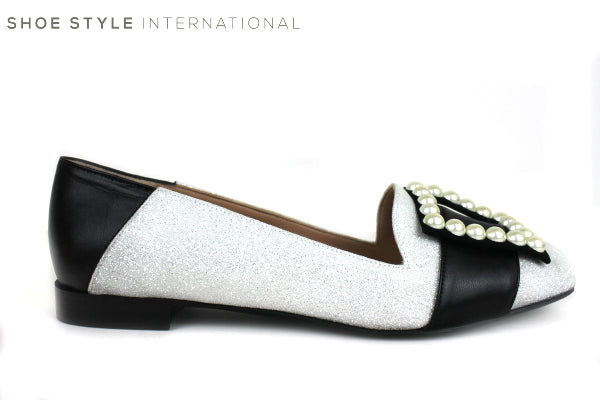 Oxtialy Gemma low flat loafer shoe, colour white with pearl square detail on the toe, shoe style international wexford gorey ireland