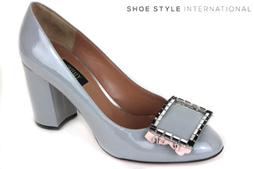 Oxitaly Gersa 424 Block High Heel Court Shoe with round toe, colour grey, shoe style International wexford gorey Ireland