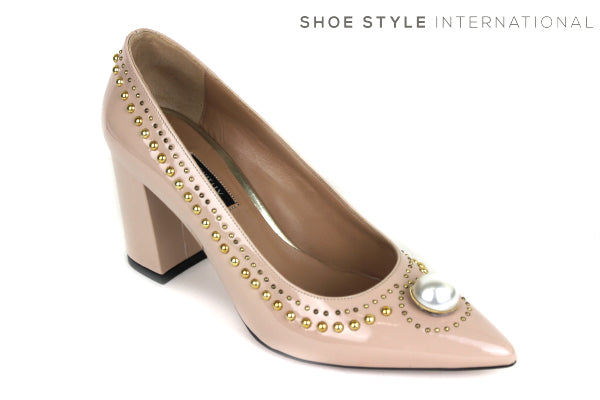 Oxitaly Giavi 109, block high heel pointed toe with pearl detail and gold studs, Shoe Style International wexford gorey ireland