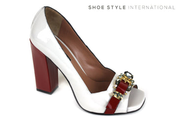 Oxitaly Sahara 440 , Block High Heel with a Peep toe shoe, colour white/red, red on the block high heel with red broche detail on front of the shoe, shoe style international wexford gorey ireland
