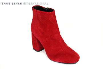 Oxtialy Gigia 330, Red Suede Ankle Boot with Zip Closing to the side. This Block High Heel Ankle Boot will update any outfit this season,  Ireland Shoe Shops online, Shoe Style International, Location Wexford Gorey and Ireland