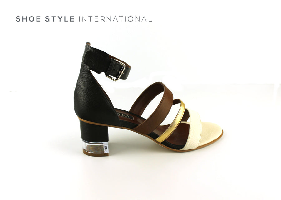 Oxitaly Sevexy 44, Midi Block Heel Sandal with Ankel Strap to close, colour Black and Tan, Shoe_Style_International-Wexford-Gorey-Ireland