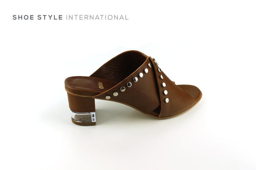 Oxitaly Sevexy 19, Mid Heel Mule Open Toe in Dark Tan with Silver Stud Detail, Shoe_Style_International-Wexford-Gorey-Ireland