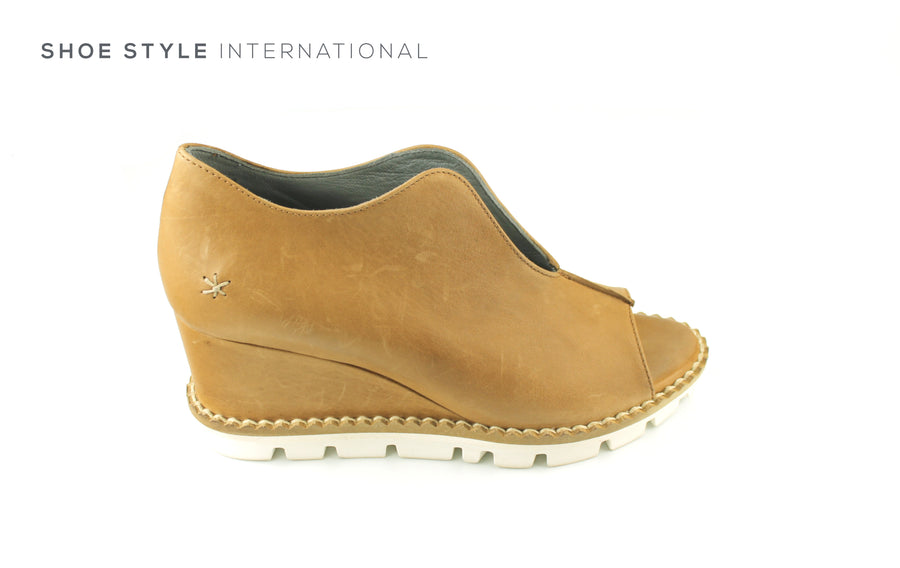 Patrizia Bonfanti Genda, Soft Leather in Tan Colour, Peep Toe Slip On Wedge, Ireland Shoe Shops online, Shoe Style International, Location Wexford Gorey, Ireland