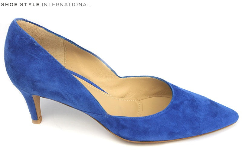 Perlato 10474 Suede low heel court shoe with a closed toe. Colour Blue, Shoe Style International