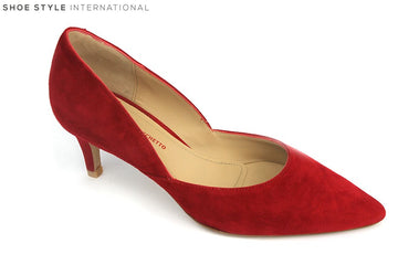 Perlato 10474 Suede low heel closed toe court shoe, perfect shoe for occasion wear, Colour Red, Shoe Style International