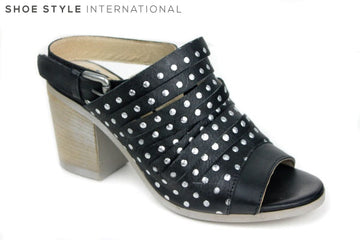 Pinto Di Blue 62150, sling back sandasl with a peep toe. Colour is black with silver spots on the shoes. Shoe Style International