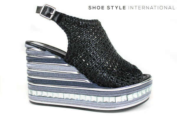 Pons Quintana 7009, Slingback Wedge Plaform sandal with a peep toe and slingback buckle closing. Colour black, on the plafrom there is a row of diamante detail. Shoe Style International, Wexford, Gorey, Ireland