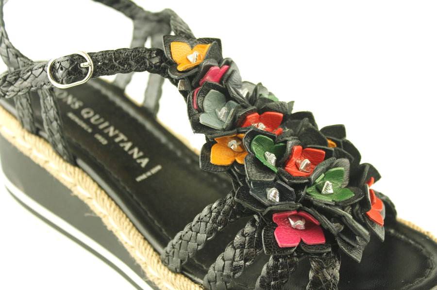 Pon Quitana Shoes made in Menorca Shoes, Black Open Toe Sandal with Flower Detail, Shoe_Style_International-Wexford-Gorey-Ireland