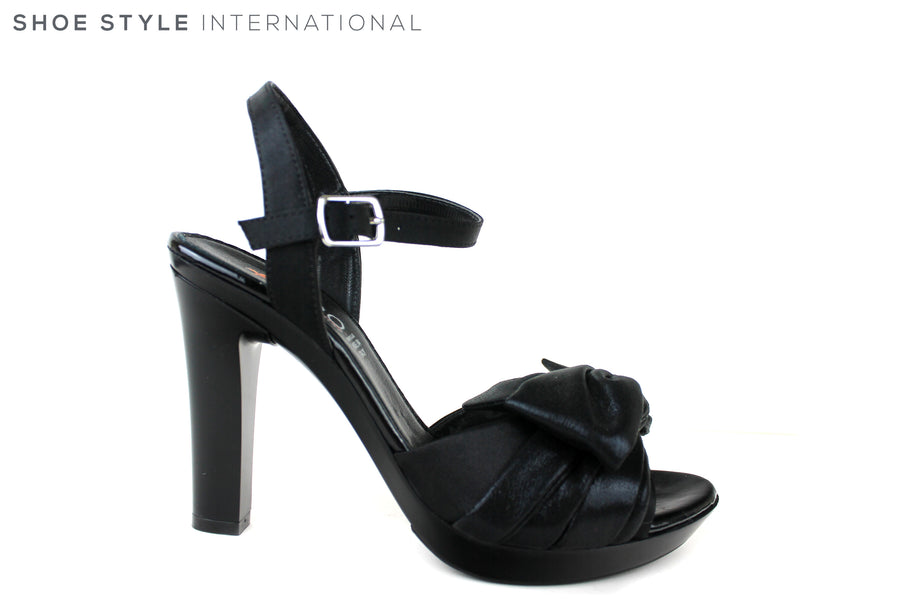 Repo 46415, Ankle Strap Sandal with Bow Detail at the front. Colour black and Bow detail on the front strap is black. Perfect Occasion wear Sandals. Shoe Style International